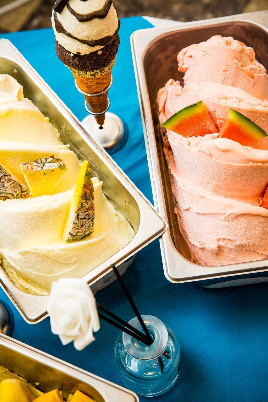 gelato, pineapple, watermelon